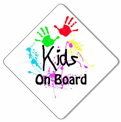 Kids on Board White Car Sign Like Baby/Child On Board
