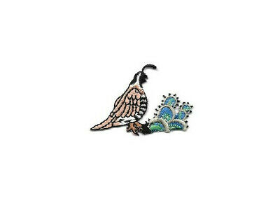 Quail Family of 4 with Cactus Southwest Scene Embroidered Iron On Patch 3.50 In