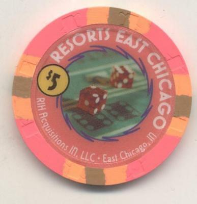 Resorts East Chicago  Il $5 Casino House Chip Illinois