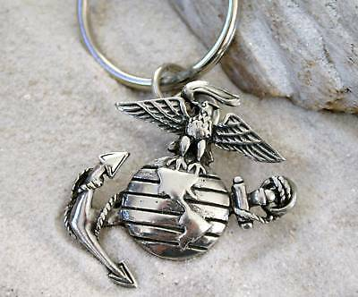 US MARINE CORP SEMPER FI Pewter KEYCHAIN Key Ring