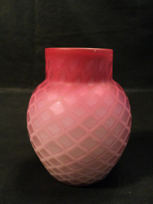 Nice Mop Pink Diamond Quilted Satin Glass Vase C1880 24999