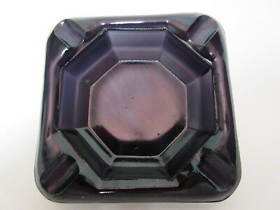 "Akro Agate Black Amethyst 3"" Square Ashtray / 3 Avail"