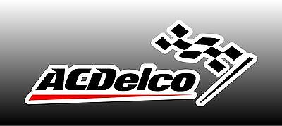 """AC Delco With Flag Logo 6"""" Wide Bumper Sticker Decal"""