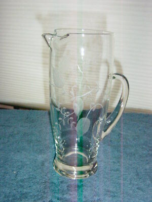 """Old Vintage Antique ** 9"""" Pitcher Clear Glass ** ETCHED"""