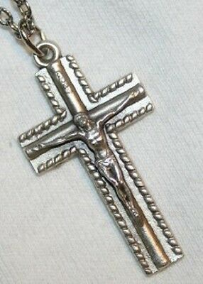 Handsome Bevel Beaded Silvertne Crucifix Cross Necklace