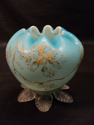 VICTORIAN BLUE SATIN GLASS FOOTED ROSE BOWL, c. 1900