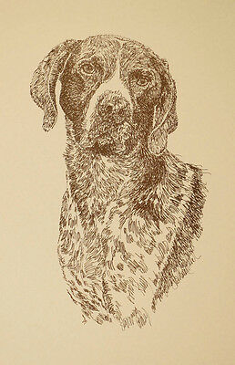 German Shorthaired Pointer Signed Dog Art #80 Kline adds dog name free. GSP gift