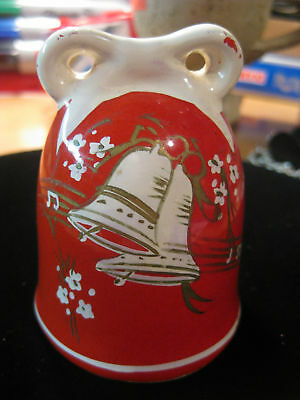 Vintage Red White Christmas Holiday Bell NICE