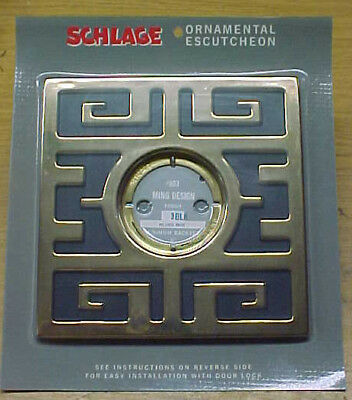 VINTAGE Schlage MING DOOR ESCUTCHEON / (3) Black
