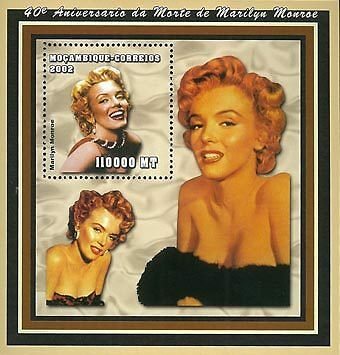 Mozambique 2002 Stamp, Marilyn Monroe, Actress S/S 2