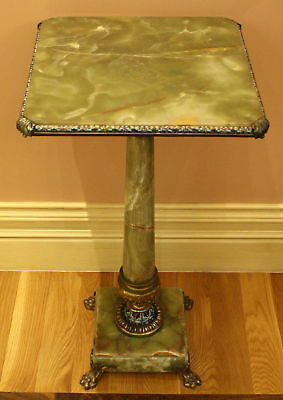 19C French Gilt Bronze Mounted Champleve Onyx Table,must See