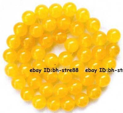 8mm yellow Jade round gemstone Beads 15''
