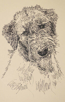 Irish Wolfhound Dog Art Portrait Print #68 Kline adds dog name free WORD DRAWING