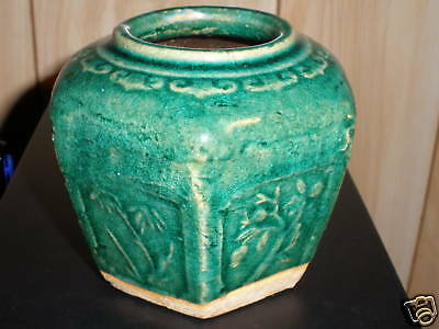 ANTIQUE CHINESE POTTERY 6 SIDED VASE