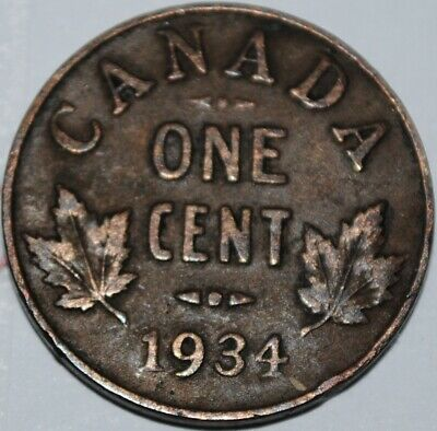 Canada 1934 1 Cent Copper Coin One Canadian Penny Nice