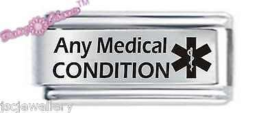 Personalised Custom Made Italian Charm - MEDICAL ALERT - Fits Nomination Classic