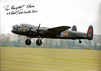 WW2 LANCASTER personally signed 12x8 - RON HOUGHTON