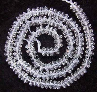3x5mm Natural Clear Rock Crystal Quartz rondelle faceted Beads 15.5""