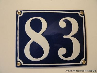 Edwardian Style Enamel Door Number 83 Sign Plaque