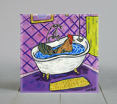 Chicken taking a bath bathroom art tile coaster gift rooster hen bird