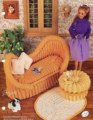 French Settee Set, Annie's crochet patterns fit Barbie