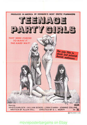 TEENAGE PARTY GIRLS MOVIE POSTER 27x41 FOLDED 1975