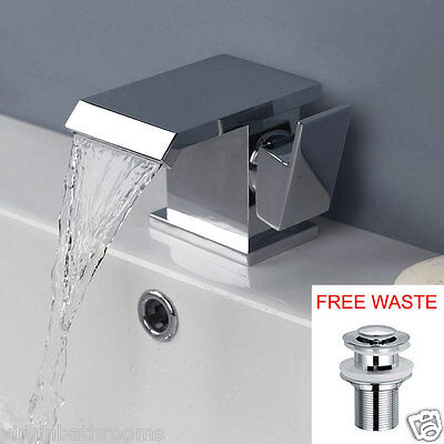 Evolution Square Waterfall Single Lever Basin Mono Mixer Chrome Tap *free Waste*