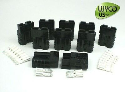 10 Anderson Quick Connector Kits, #6Awg (6 Gauge), Sb50A 600V, Small Black, 50A