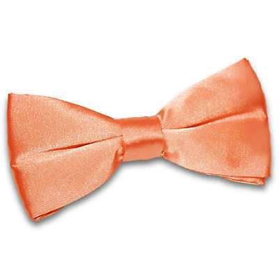DQT Satin Plain Solid Coral Formal Classic Mens Pre-Tied Bow Tie