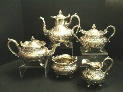 19th C. ORNATE AMERICAN 5-PC STERLING SILVER COFFEE / TEA SET