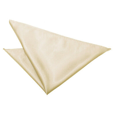 DQT Satin Plain Solid Champagne Formal Handkerchief Hanky Pocket Square