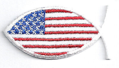 Christian Fish ~ American Flag ~ Iron On Patch
