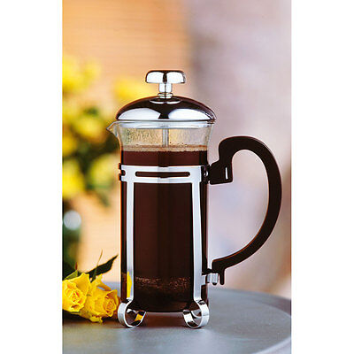 2 Cup Heat Resistant Chrome Kona Glass Plated Cafetiere