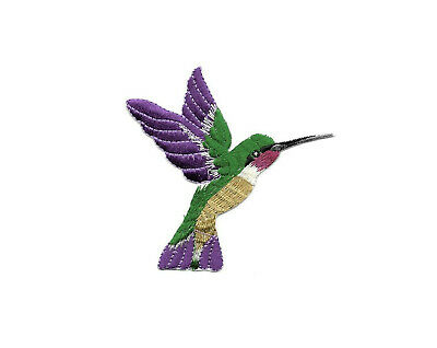 Hummingbird - Garden - Purple Embroidered Iron On Applique Patch - Right