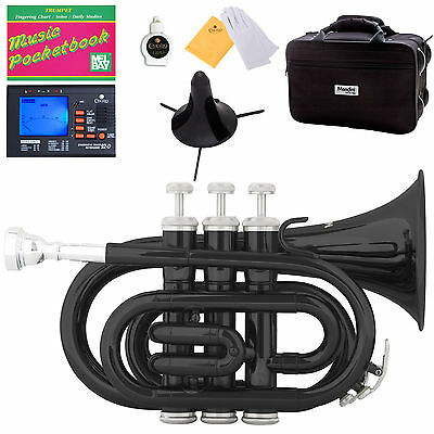 Mendini Black Lacquer Mini / Pocket Trumpet +Tuner+Stand+Case
