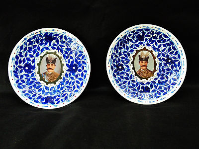 Antique Original Hand Painted Persian Porcelain Plates