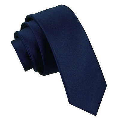 Dqt High Quality Plain Skinny Thin Tie - Navy Blue