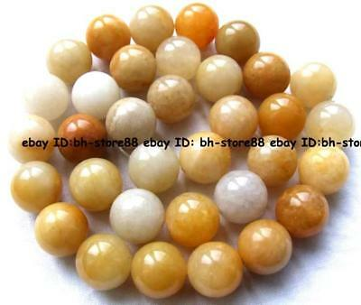 12mm Natural yellow jade round smooth Beads 15""
