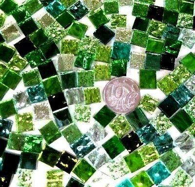 100 Mixed GREEN Mosaic MIRROR Tiles 1cm x 1cm crafts