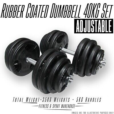 Set of 40Kg Rubber Coated Adjustable Dumbbell/Dumbell Weightlifting Accessories