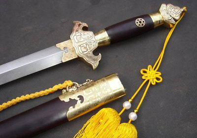 Handmade Damascus steel blade hand-carved bronze Tosogu sword in Longquan China