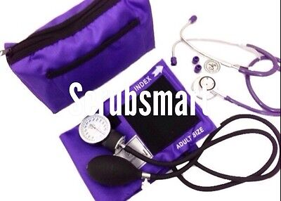EMI PURPLE Blood Pressure CUFF BP Monitor  + Dual Head Stethoscope Kit Set #305