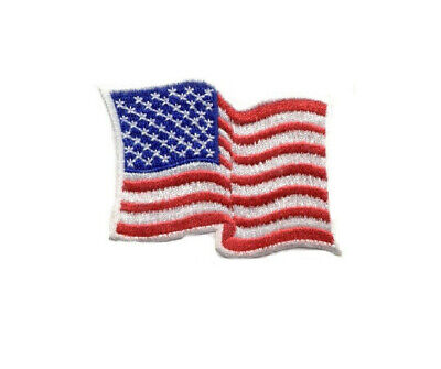 Flag - American - Waving - Patriotic - Embroidered Iron On Patch - Crafts