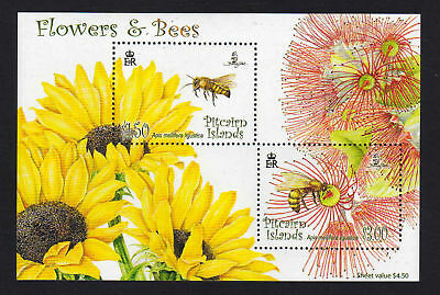 Pitcairn Is.2008 Flowers & Bees M/sheet Ms 767 Mnh.