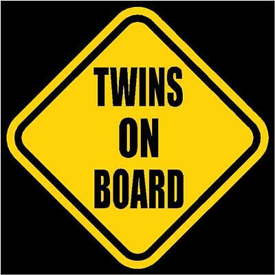 "TWINS ON BOARD Window Decal/Sticker Yellow 5.5"" Tall"