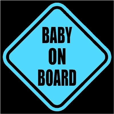 "BABY ON BOARD Window Decal/Sticker Blue 5.5""H"