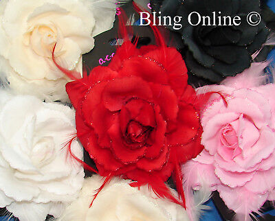 LARGE 12cm GLITTER EDGE ROSE & FEATHER FLOWER HAIR ELASTIC FASCINATOR WEDDING
