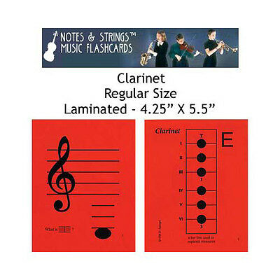 """Clarinet 4.25""""x5.5"""" Laminated Music Flashcards by N&S"""