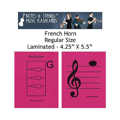 """French Horn 4.25""""x5.5"""" Laminated Music Flashcards"""