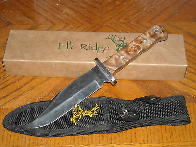 Elk Ridge Full Tang Burl Wood Hunting/Skinning Knife